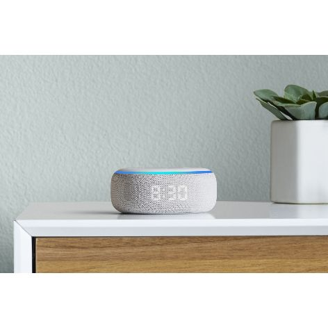 Amazon-Echo-Dot-with-Clock-on-sidetable