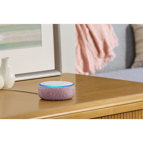 Amazon-Echo-Dot,-Plum,-on-side-table